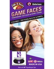 CP-153-R_Fr - Northwestern University (NU) Wildcats - Waterless Peel & Stick Temporary Tattoos - 12-Piece Combo - 8 Purple/White Cat Head N Logo Spirit Tattoos & 4 Purple/White Cat Head Logo on Black Eye Strips