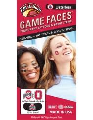 CP-19-R_Fr - Ohio State University (OSU) Buckeyes - Waterless Peel & Stick Temporary Tattoos - 12-Piece Combo - 4 Scarlet/Black/White O-Ohio State Logo & 4 Scarlet O Logo Spirit Tattoos & 4 Scarlet/Black/White O-Ohio State Logo on Black Eye Strips