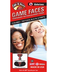 CP-71-R_Fr - Texas Tech (TTU) Red Raiders - Waterless Peel & Stick Temporary Tattoos - 12-Piece Combo - 8 Scarlet/Black TT Logo Spirit Tattoos & 4 Scarlet/White TT Logo on Black Eye Strips