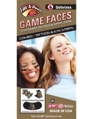 CP-199-R_Fr - University of Central Florida (UCF) Knights - Waterless Peel & Stick Temporary Tattoos - 12-Piece Combo - 4 Gold/Black UCF Logo & 4 Gold/Black Knightro Logo Spirit Tattoos & 4 Gold Knightro Logo on Black Eye Strips