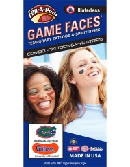 CP-14-R_Fr - University of Florida (UF) Gators - Waterless Peel & Stick Temporary Tattoos - 12-Piece Combo - 8 Green/Orange/Blue Gator Head Oval Spirit Tattoos & 4 Blue/White Gators on Orange iEye Strips