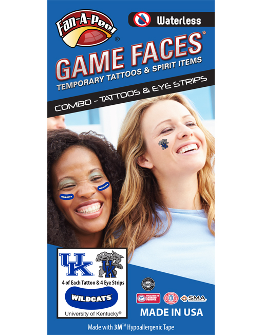 CP-49-R_Fr - University of Kentucky (UK) Wildcats - Waterless Peel & Stick Temporary Tattoos - 12-Piece Combo - 4 Blue/White UK Logo & 4 Blue/Black UK Scratch Logo Spirit Tattoos & 4 White Wildcats on Blue Eye Strips