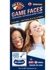 CP-20-R_Fr - University of North Carolina (UNC) Tar Heels - Waterless Peel & Stick Temporary Tattoos - 12-Piece Combo - 4 Blue NC Logo & 4 Blue Foot Print Spirit Tattoos & 4 Carolina Blue Go Heels on Blue Eye Strips