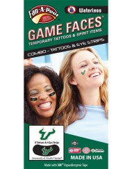 Fr - University of South Florida (USF) Bulls - Waterless Peel & Stick Temporary Tattoos - 12-Piece Combo - 8 Spirit Tattoos & 4 Eye Strips