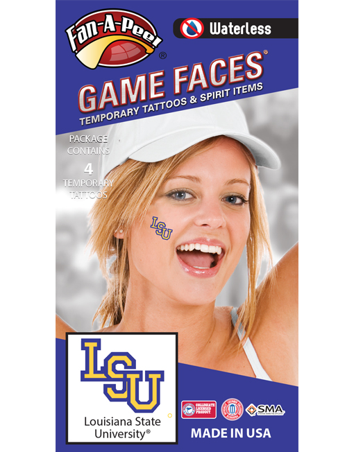 W-C-50_Fr - Louisiana State University (LSU) Tigers - Waterless Peel & Stick Temporary Spirit Tattoos - 4-Piece - Purple/Gold LSU Logo
