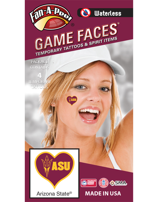 W-C-HRT-39-R_Fr - Arizona State University (ASU) Sun Devils - Waterless Peel & Stick Temporary Spirit Tattoos - 4-Piece - Gold Trident ASU Logo In Maroon Heart