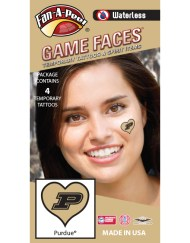 W-C-HRT-65-R_Fr - Purdue University Boilermakers - Waterless Peel & Stick Temporary Spirit Tattoos - 4-Piece - Black P Logo on Gold Heart
