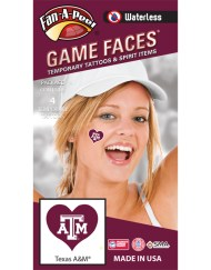 W-C-HRT-69_Fr - Texas A&M University (TAMU) Aggies - Waterless Peel & Stick Temporary Spirit Tattoos - 4-Piece - White TAM Logo on Maroon Heart