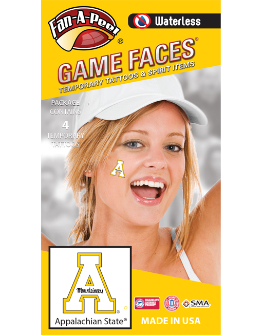 W-CB-147_Fr - Appalachian State University (ASU) Mountaineers - Waterless Peel & Stick Temporary Spirit Tattoos - 4-Piece - Gold A Logo