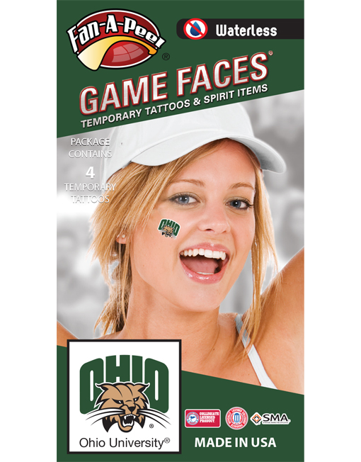 W-CB-181-R_Fr - Ohio University Bobcats - Waterless Peel & Stick Temporary Spirit Tattoos - 4-Piece - Green Ohio Rufus Cat Head Logo