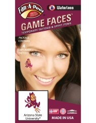 W-CB-39_Fr - Arizona State University (ASU) Sun Devils - Waterless Peel & Stick Temporary Spirit Tattoos - 4-Piece - Maroon/Gold Sparky Logo