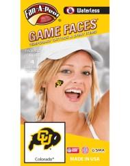W-CB-41_Fr - Colorado University (CU) Buffaloes - Waterless Peel & Stick Temporary Spirit Tattoos - 4-Piece - Black/Gold CU Bison Logo