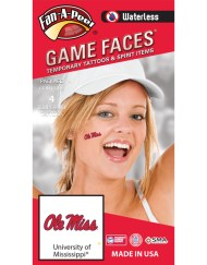 W-CF-30_Fr - University of Mississippi (Ole Miss) Rebels - Waterless Peel & Stick Temporary Spirit Tattoos - 4-Piece - Red/Navy Blue Ole Miss