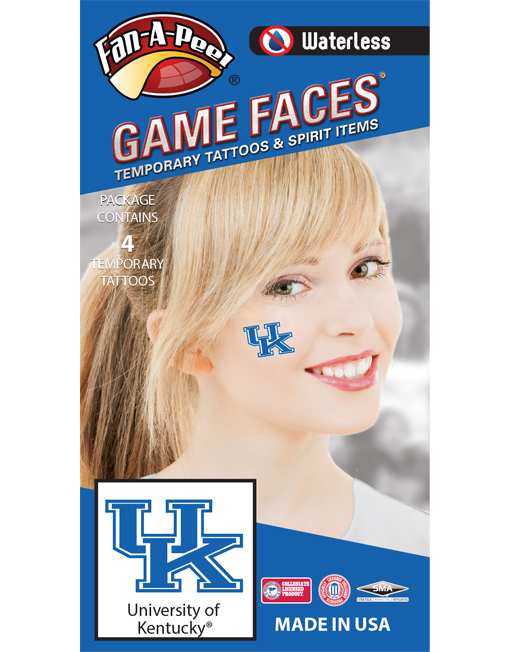 W-CF-49_Fr - University of Kentucky (UK) Wildcats - Waterless Peel & Stick Temporary Spirit Tattoos - 4-Piece - Blue/White UK Logo