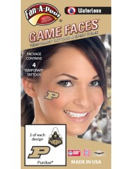 W-CF-65_Fr - Purdue University Boilermakers - Waterless Peel & Stick Temporary Spirit Tattoos - 4-Piece - 2 Gold/Black P Logo & 2 Train Logo