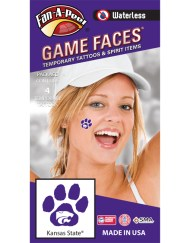 W-CF-92_Fr - Kansas State University (KSU) Wildcats - Waterless Peel & Stick Temporary Spirit Tattoos - 4-Piece - White Willie Wildcat Head Logo on Purple Paw Print