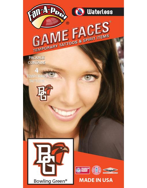 W-CH-110-R_Fr - Bowling Green State University (BGSU) Falcons - Waterless Peel & Stick Temporary Spirit Tattoos - 4-Piece - Orange/Brown BG Logo