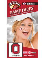 W-CH-19-R_Fr - Ohio State University (OSU) Buckeyes - Waterless Peel & Stick Temporary Spirit Tattoos - 4-Piece - Scarlet/Black/White O Logo