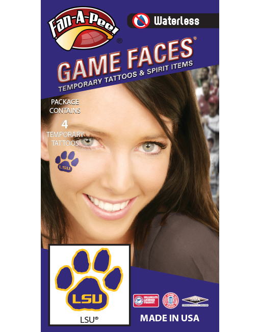 W-CH-50-R_Fr - Louisiana State University (LSU) Tigers - Waterless Peel & Stick Temporary Spirit Tattoos - 4-Piece - Gold LSU Logo on Purple Paw Print