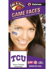 W-CH-70_Fr - Texas Christian University (TCU) Horned Frogs - Waterless Peel & Stick Temporary Spirit Tattoos - 4-Piece - Purple/White TCU Logo