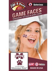W-CI-54-R_Fr - Mississippi State University (MSU) Bulldogs - Waterless Peel & Stick Temporary Spirit Tattoos - 4-Piece - 2 Maroon/White M-State Logo & 2 Maroon/White Paw Print