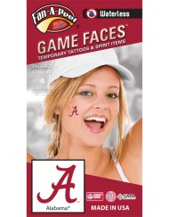 W-CJ-11_Fr - University of Alabama (UA) Crimson Tide - Waterless Peel & Stick Temporary Spirit Tattoos - 4-Piece - Crimson A Logo