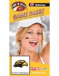 W-CJ-99-R_Fr - University of Southern Mississippi (USM) Golden Eagles - Waterless Peel & Stick Temporary Spirit Tattoos - 4-Piece - Gold/Black Eagle Head Logo