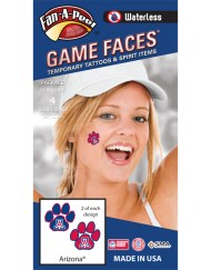 W-CS-38_Fr - University of Arizona (U of A) Wildcats - Waterless Peel & Stick Temporary Spirit Tattoos - 4-Piece - 2 Red/White A Logo on Blue Paw Print & 2 Red/White A Logo on Red Paw Print