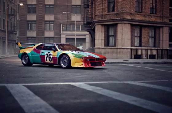 Das BMW Art Car von Andy Warhol, BMW M1 Gruppe 4 Rennversion, 1979, auf der Paris Photo Los Angeles in den Paramount Pictures Studios (04/2013)