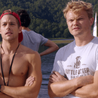 "Tim Pocock as Robbie Matthews and Thom Green as Kip Wampler shirtless in Camp 1x03 ""The Mixer"""