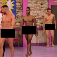 "Bryce Eilenberg, Jason Carter & Miles Davis Moody shirtless/naked in RuPaul's Drag Race in 7x01 ""Born Naked"""