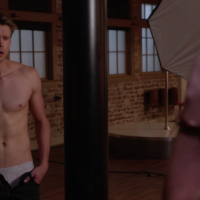 "Chord Overstreet as Sam Evans shirtless in Glen 5x20 ""The Untitled Rachel Berry Project"""