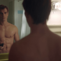 "KJ Apa as Archie Andrews shirtless in Riverdale 2x08 ""Chapter Twenty One: House of the Devil"""