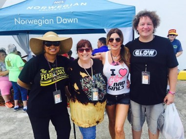 GLOW Superfans Natalia Williams and Vanessa Bello posing with MTV and Hollywood