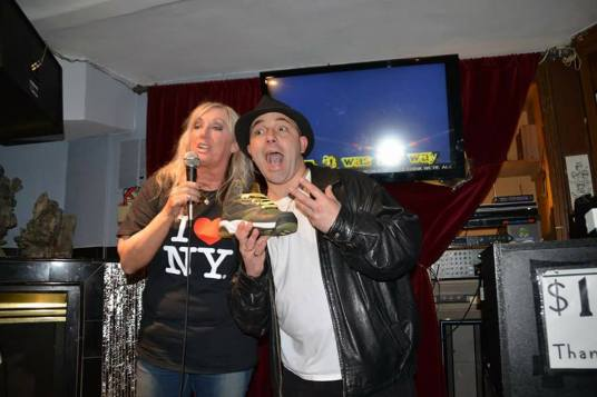 Roxy Astor and Vinny the Guido at the bon voyage party in Manhattan. Photo by Vinny Dibenedetto