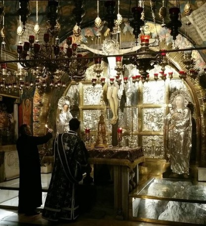 Golgotha, where Christ was crucified in the Greek Orthodox section of the Church of the Holy Sepluchre, Jerusalem.