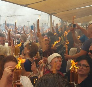 The Miracle of the Holy Fire outside Jaffa Gate, Jerusalem
