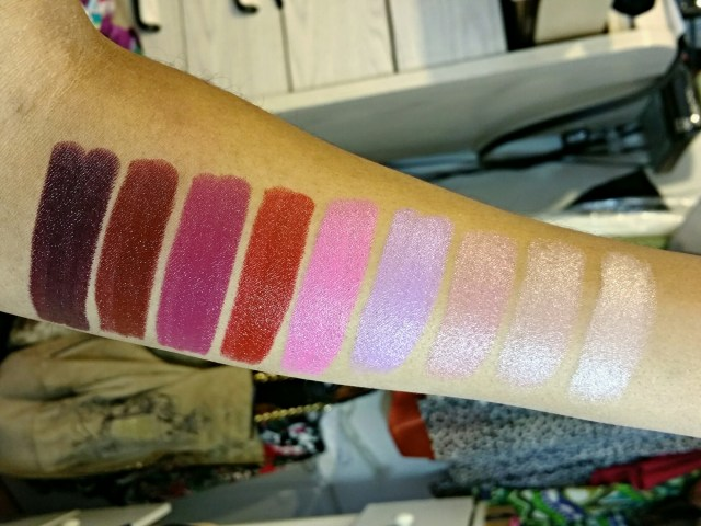 NYX Dahlia, Feline, Wine & Dine, Burlesque, Privileged, Playdate, Flutter Kiss, Stone and Flawless High Voltage Lipsticks