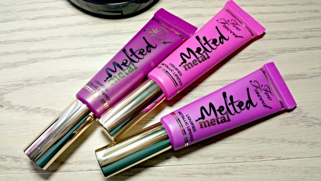 Too Faced Melted Metallic Lipstick in Metled Metallic Jelly, Metled Metallic Violet and Melted Metallic Dream House