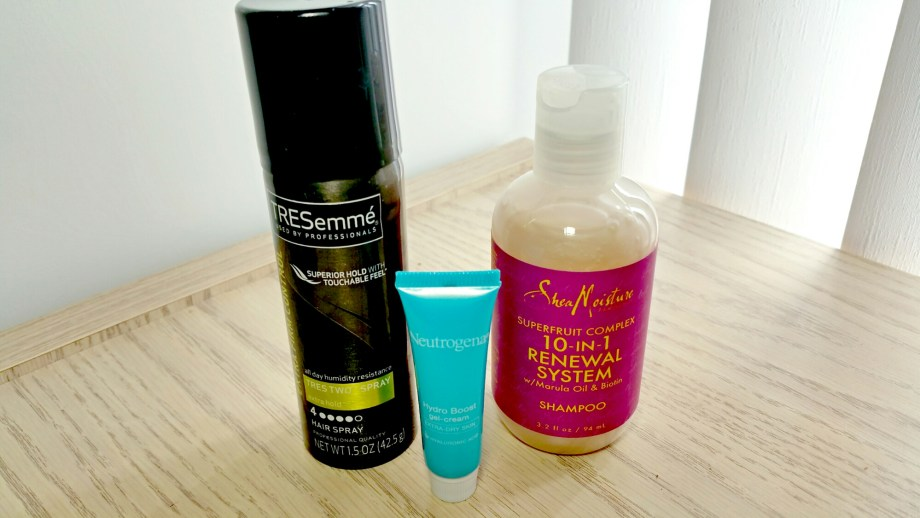 Tresemme Tres Two Extra Hold Hairspray, Neutrogena Hydro Boost Gel Cream, Shea Moisture Superfruit Complex 10-in-1 Renewal System Shampoo Target Spring Beauty Box 2015