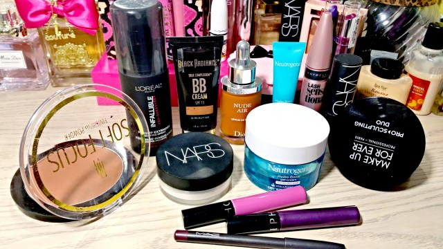 Black Radiance Milk Chocolate Soft Focus Finishing Powder, NARS Loose Light Reflecting Setting Powder, L'Oreal Infallible Setting Spray, Neutrogena Hydro Boost Gel Cream, Eye Gel Cream, Sephora Cream Lip Stain 12 African Violet 15 Polished Purple, Make Up For Ever Pro Sculpting Duo, Black Radiance BB Cream Honey Amber, Maybelline Lash Sensational Mascara, MAC Cyber World Lip Pencil