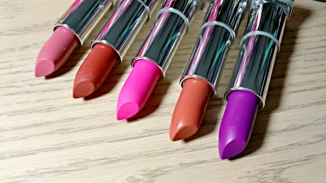 Maybelline Blushing Pout, Nude Nuance, Electric Pink, Clay Crush, Vibrant Violet Color Sensational Matte Lipsticks