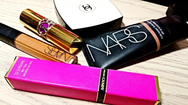 Prada Candy Perfume, NARS Amande Radiant Creamy Concealer, Yves Saint Laurent Shine 19 Fuchsia in Rage, Chanel Les Beiges 70, NARS Polynesia Pure Radiance Tinted Moisturizer