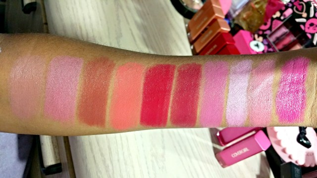 CoverGirl 255 Tempting Toffee, 265 Romance Mauve, 275 Coffee Crave, 285 Sweet Tangerine, 355 Tempt Berry, 315 Euphoria, 370 Verve Violet, 335 Tantalize, 395 Darling Kiss, 425 Bombshell Pink Colorlicious Lipsticks