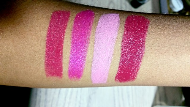 Wet N Wild Blind Date, Fuchsia with Blue Pearl, Will You Be With Me?, Dark Wine Silk Finish Lipstick