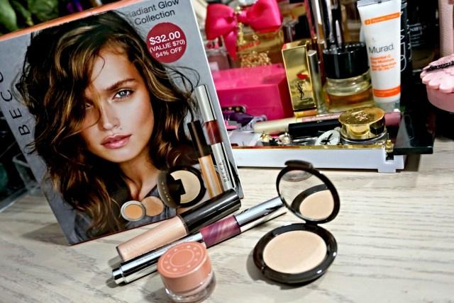 Becca Opal Shimmering Skin Perfector Spotlight, Under Eye Brightening Corrector, Raspberry/Opal Beach Tint Lip Shimmer Souffle, Moonstone Shimmering Skin Perfector Pressed