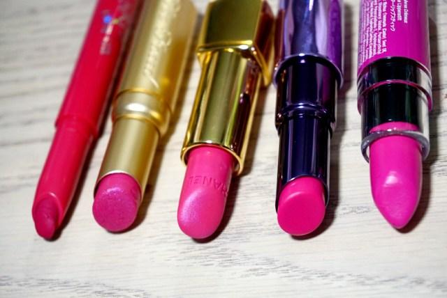 5 Bold Pinks for Summer: ColourPop Poppin' Matte X Lippie Stix, Chanel Extatique Rouge Allure Lipstick, Too Faced Mean Girls La Creme Lipstick, NYX Razzle Butter Lipstick, Urban Decay Sheer Anarchy Revolution Lipstick