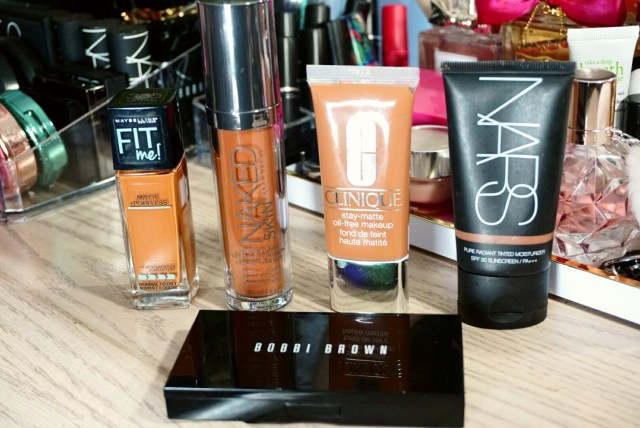 Bobbi Brown Skin Weightless Powder Foundation, Maybelline Fit Me Matte + Poreless Foundation, Urban Decay Naked Skin Weightless Ultra Definition Liquid Makeup, Clinique Stay Matte Oil Free Makeup, NARS Pure Radiance Tinted Moisturizer