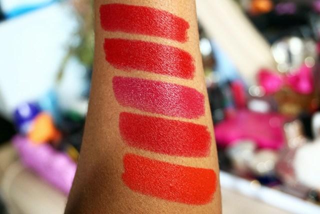 Fiona Stiles Stoddard Color Impact Matte Lip Crayon, L'Oreal Blake's Red Colour Riche Lipstick, CoverGirl Tempt Berry Colorlicious Lipstick, Urban Decay 714 Vice Lipstick, MAC Lady Danger Lipstick