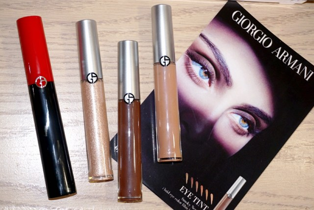 Giorgio Armani 12 Gold Ashes, 24 Nude Smoke, 21 Fur Smoke Eye Tint, Eccentrico Instant High Volume & Definiton Mascara